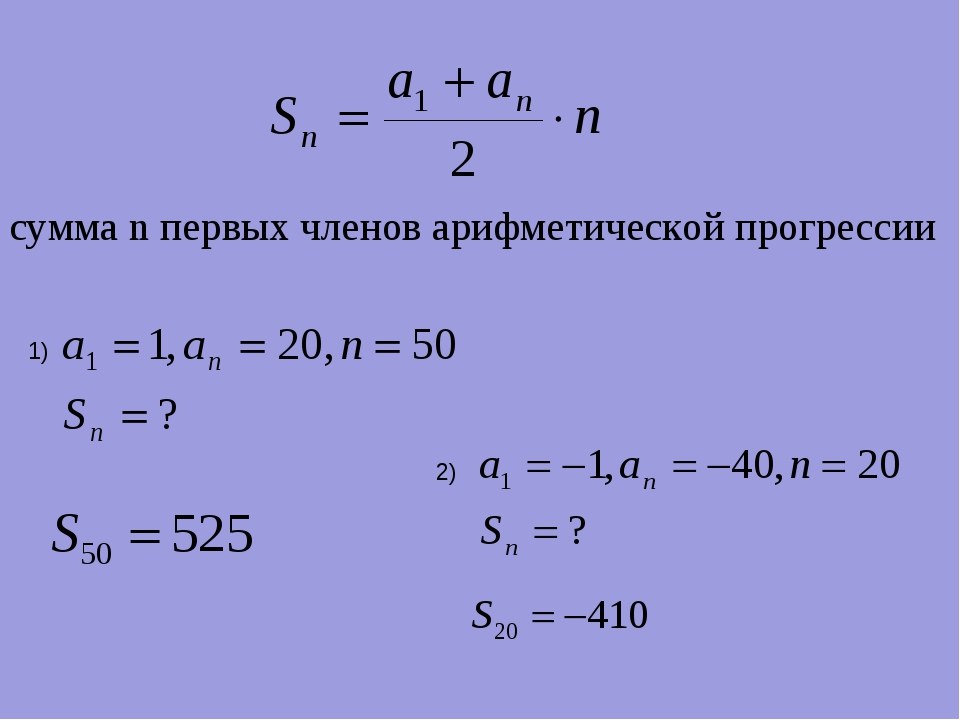 сумма n первых членов арифметической прогрессии 1) 2)