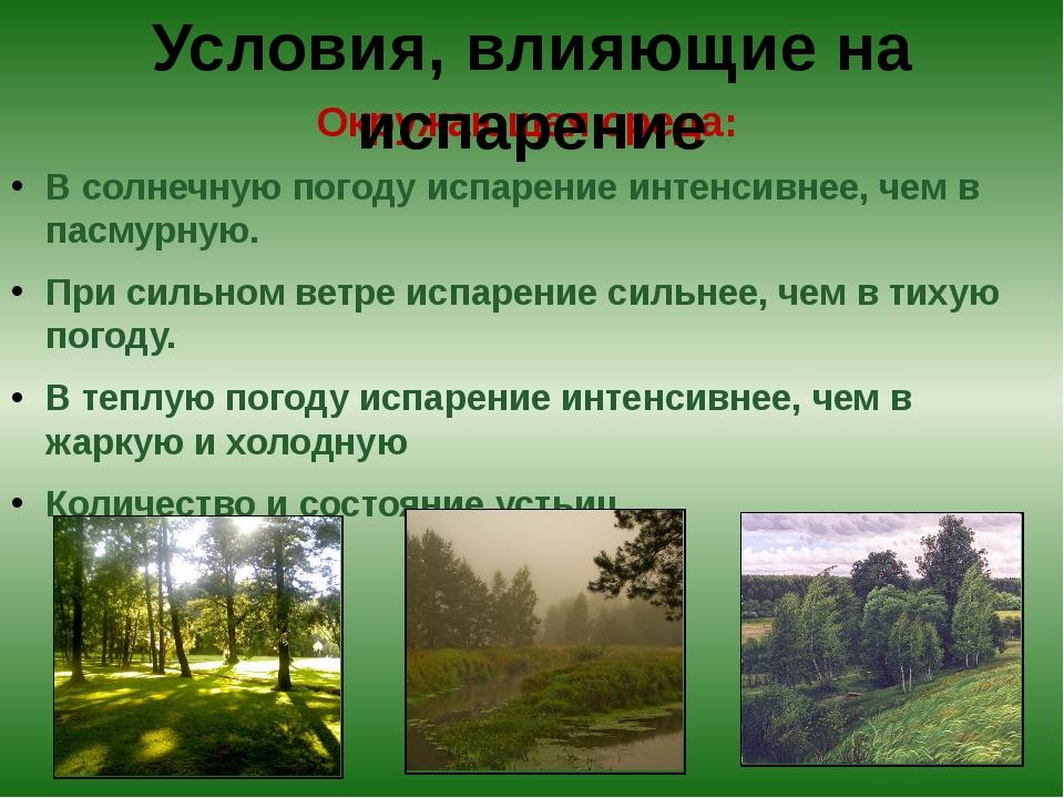 Окружающая среда: В солнечную погоду испарение интенсивнее, чем в пасмурную....