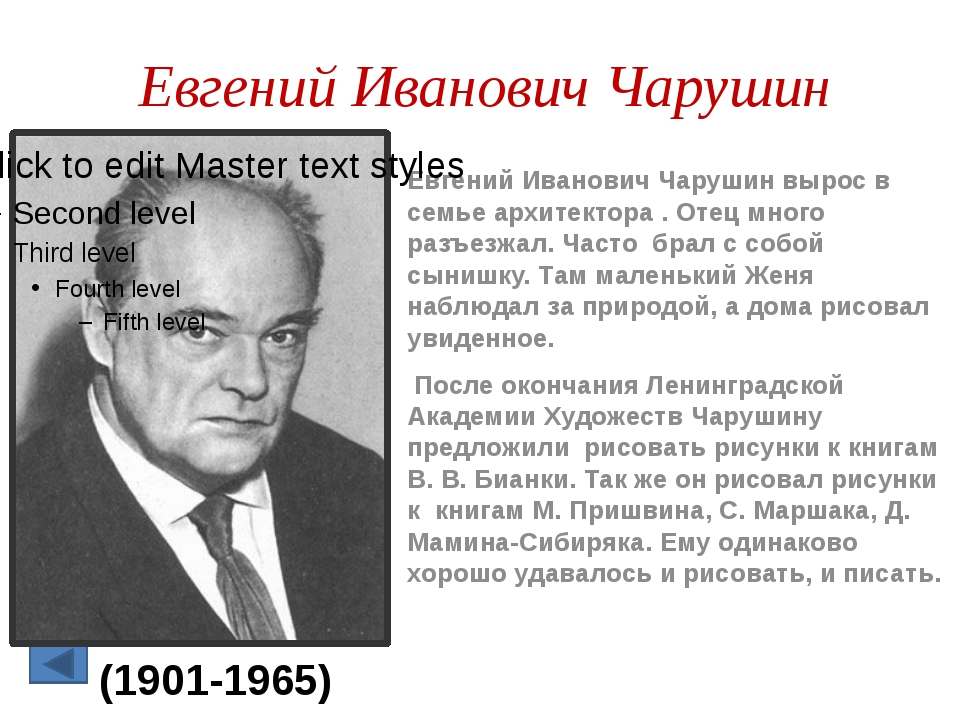 Евгений Иванович Чарушин Евгений Иванович Чарушин вырос в семье архитектора ....