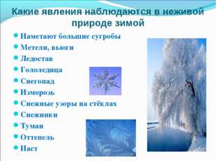 Какие явления наблюдаются в неживой природе зимой Наметают большие сугробы Ме