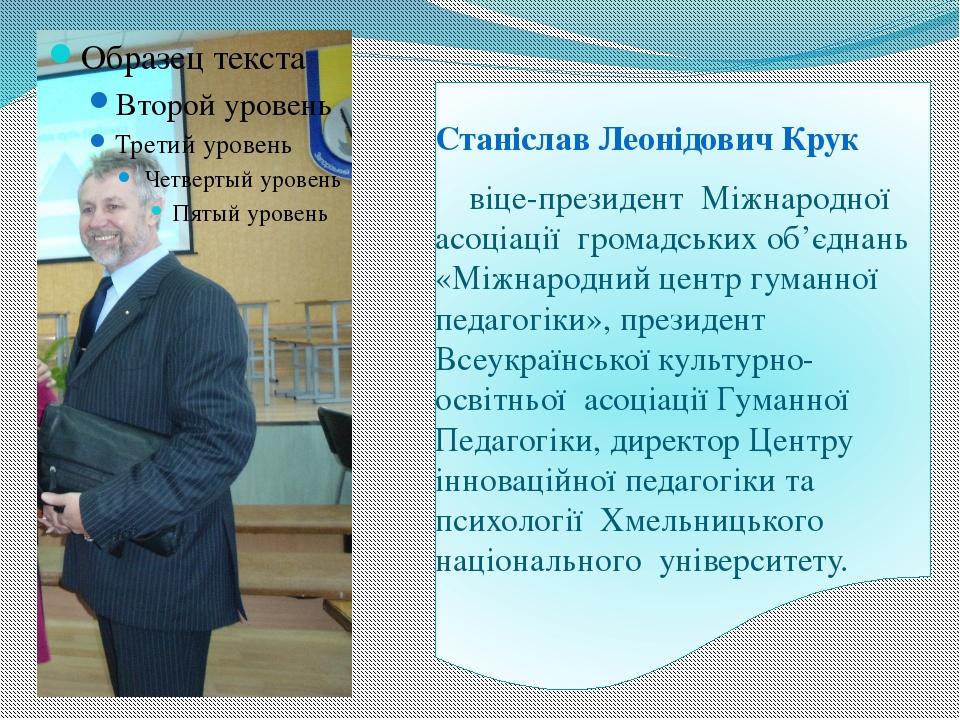Станіслав Леонідович Крук віце-президент Міжнародної асоціації громадських о...