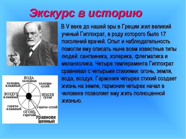 Экскурс в историю В V веке до нашей эры в Греции жил великий ученый Гиппократ...