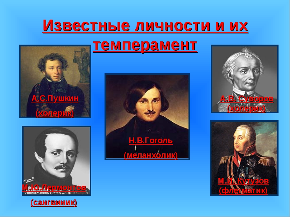 Известные личности и их темперамент А.С.Пушкин (холерик) М.Ю.Лермонтов (сангв...