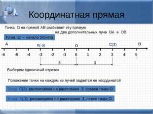 Координатная прямая В А Точка О на прямой АВ разбивает эту прямую на два допо