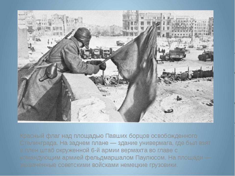 Красный флаг над площадью Павших борцов освобожденного Сталинграда. На заднем...