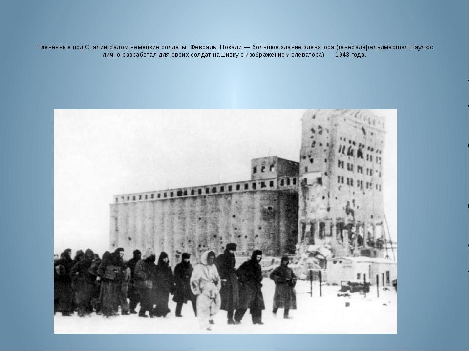 Пленённые под Сталинградом немецкие солдаты. Февраль. Позади — большое здание...