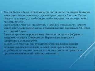 Там,где бьется о берег Черное море, где растут цветы, где щедрая Крымская зе