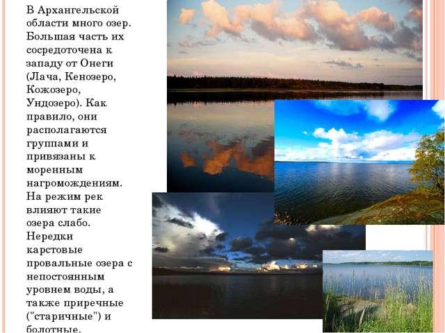 В Архангельской области много озер. Большая часть их сосредоточена к западу о...