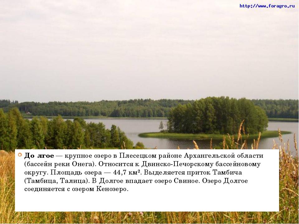 До́лгое — крупное озеро в Плесецком районе Архангельской области (бассейн ре...