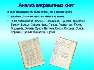 Анализ алфавитных книг В ходе исследования выяснилось, что в нашей школе: дво