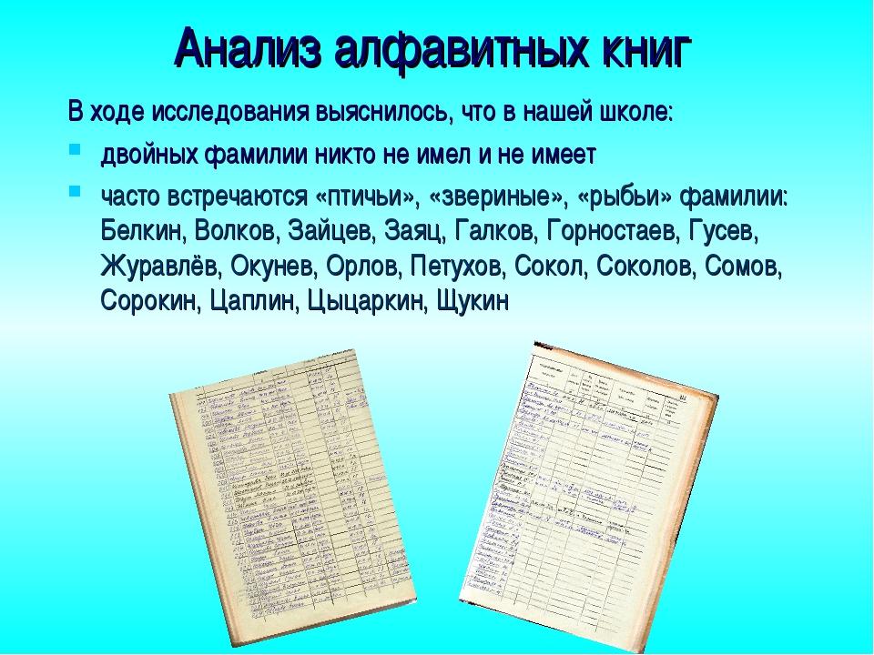 Анализ алфавитных книг В ходе исследования выяснилось, что в нашей школе: дво...