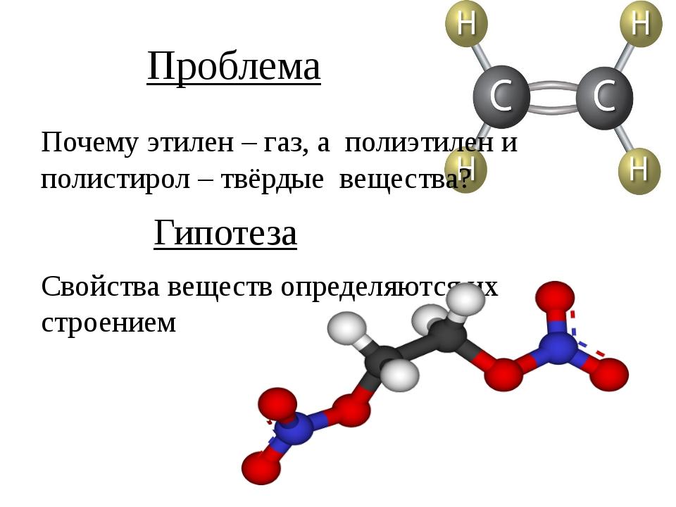 Проблема Почему этилен – газ, а полиэтилен и полистирол – твёрдые вещества? Г...