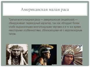 Американская малая раса Третья монголоидная раса — американская (индейская) —