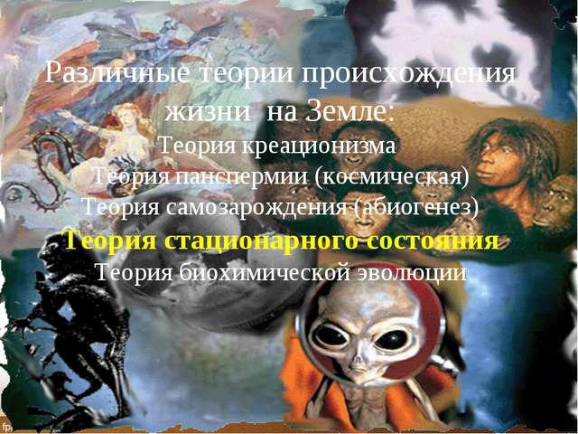 Различные теории происхождения жизни на Земле: Теория креационизма Теория пан...