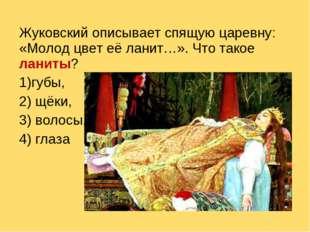 Жуковский описывает спящую царевну: «Молод цвет её ланит…». Что такое ланиты?