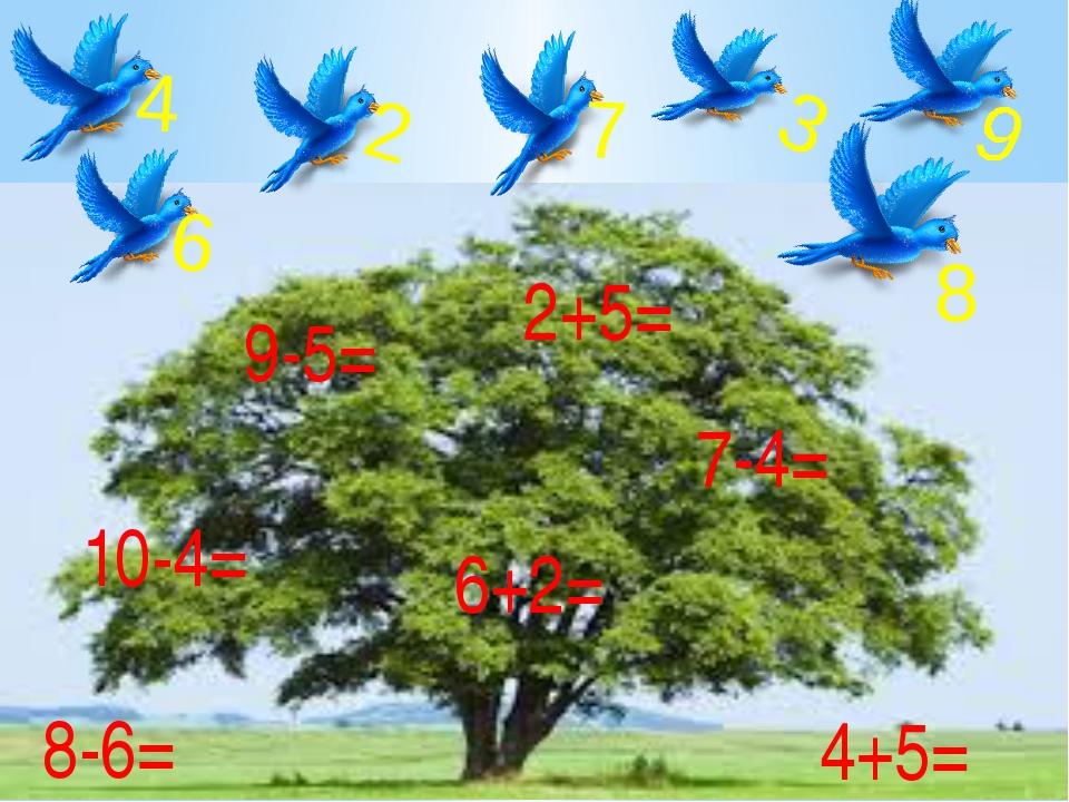 9-5= 6+2= 10-4= 8-6= 4+5= 2+5= 7-4= 9 8 4 6 2 3 7