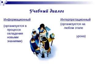 Учебный диалог Информационный (организуется в процессе овладения новыми знани