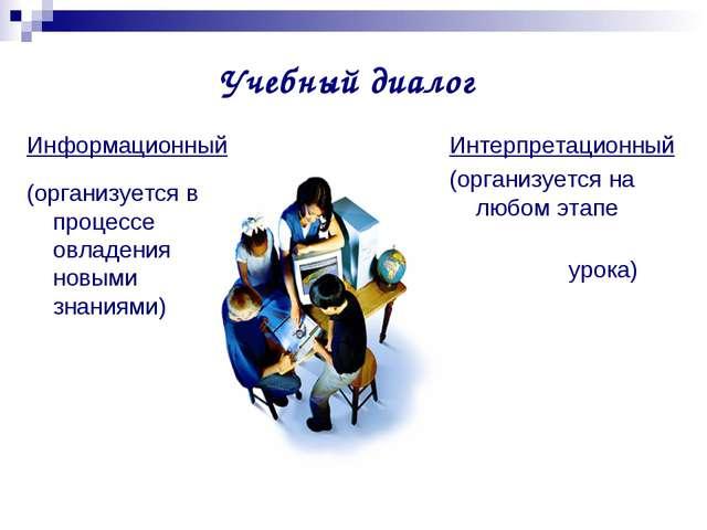 Учебный диалог Информационный (организуется в процессе овладения новыми знани...