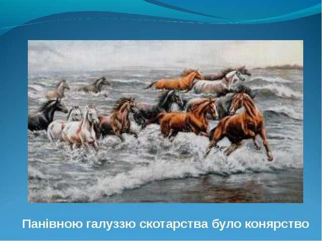 Панівною галуззю скотарства було конярство