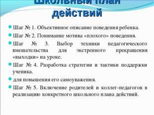 Школьный план действий Шаг № 1. Объективное описание поведения ребенка. Шаг №