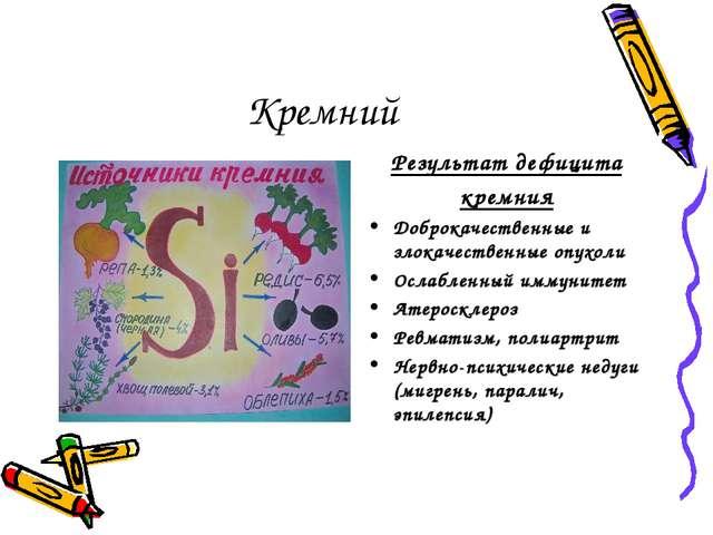 Кремний Результат дефицита кремния Доброкачественные и злокачественные опухол...