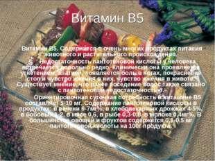 Витамин В5 Витамин В5. Содержится в очень многих продуктах питания животного