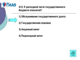 А13. К расходной части государственного бюджета относится? 1) Обслуживание го