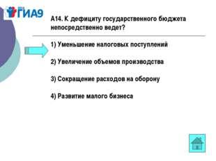 А14. К дефициту государственного бюджета непосредственно ведет? 1) Уменьшение