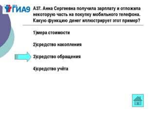 А37. Анна Сергеевна получила зарплату и отложила некоторую часть на покупку м
