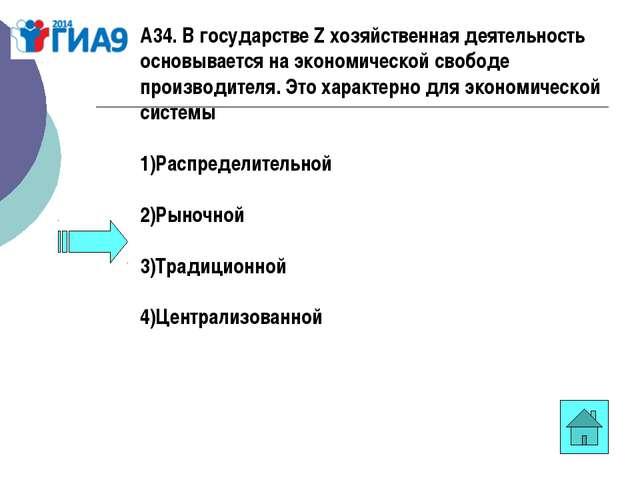 А34. В государстве Z хозяйственная деятельность основывается на экономической...