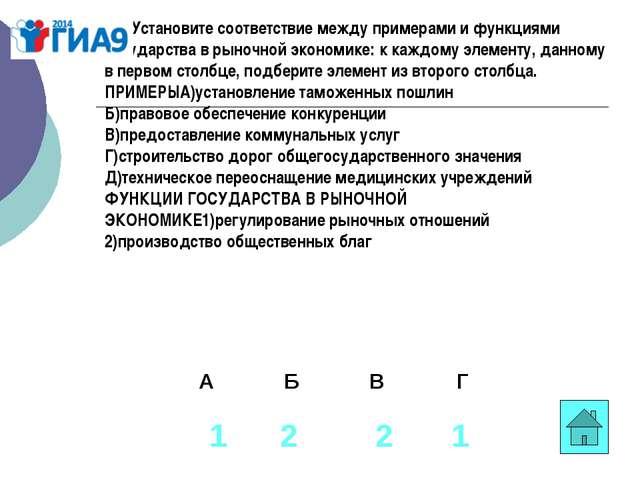 В1. Установите соответствие между примерами и функциями государства в рыночно...