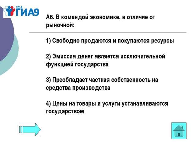 А6. В командой экономике, в отличие от рыночной: 1) Свободно продаются и поку...