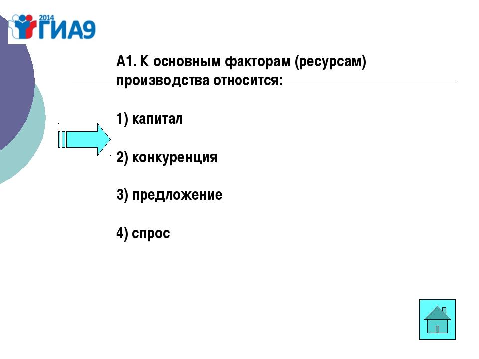 А1. К основным факторам (ресурсам) производства относится: 1) капитал 2) конк...