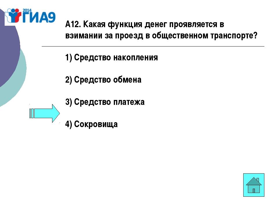 А12. Какая функция денег проявляется в взимании за проезд в общественном тран...