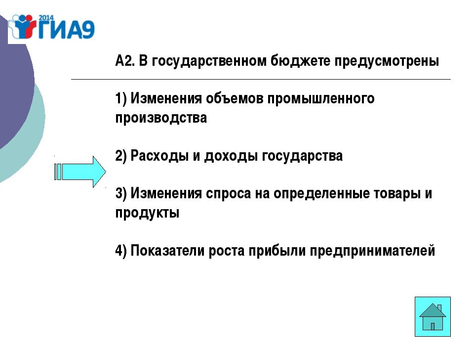 А2. В государственном бюджете предусмотрены 1) Изменения объемов промышленног...