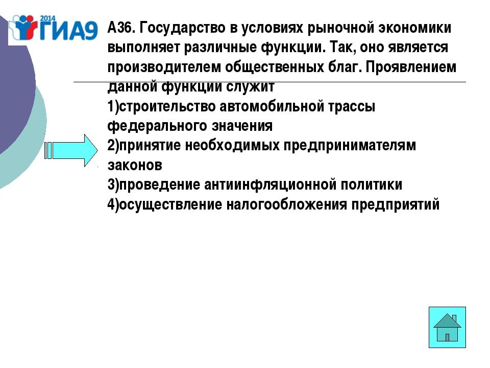 А36. Государство в условиях рыночной экономики выполняет различные функции. Т...