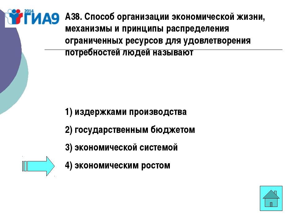 А38. Способ организации экономической жизни, механизмы и принципы распределен...
