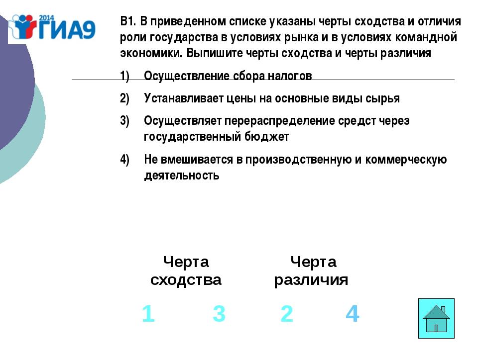 В1. В приведенном списке указаны черты сходства и отличия роли государства в...