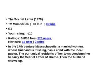The Scarlet Letter(1979) TV Mini-Series |60 min|Drama 5,8 Your ratin