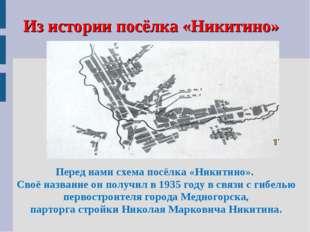 Из истории посёлка «Никитино» Перед нами схема посёлка «Никитино». Своё назва