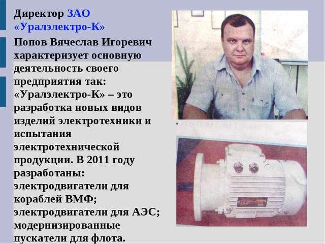 Директор ЗАО «Уралэлектро-К» Попов Вячеслав Игоревич характеризует основную д...