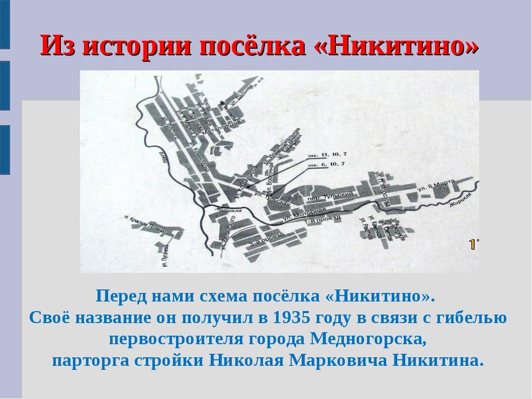 Из истории посёлка «Никитино» Перед нами схема посёлка «Никитино». Своё назва...