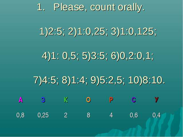 Please, count orally. 1)2:5; 2)1:0,25; 3)1:0,125; 4)1: 0,5; 5)3:5; 6)0,2:0,1;...