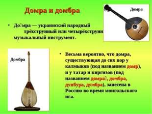 Домра и домбра До́мра — украинский народный трёхструнный или четырёхструнный