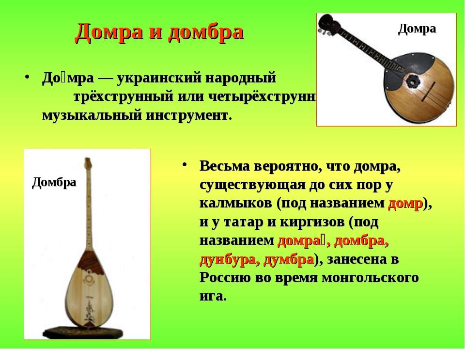 Домра и домбра До́мра — украинский народный трёхструнный или четырёхструнный...