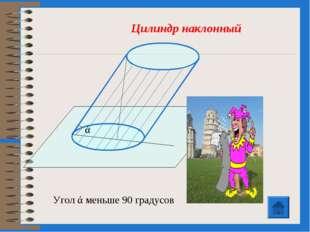 Угол ά меньше 90 градусов Цилиндр наклонный