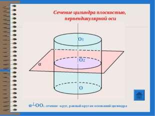 α┴OO1, сечение –круг, равный кругам оснований цилиндра Сечение цилиндра плоск