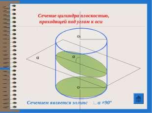 Сечение цилиндра плоскостью, проходящей под углом к оси Сечением является элл