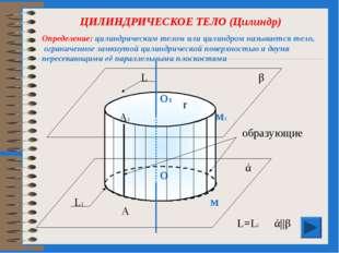 ЦИЛИНДРИЧЕСКОЕ ТЕЛО (Цилиндр) образующие О1 О ά β м1 м r ά||β L L1 L=L1 А А1