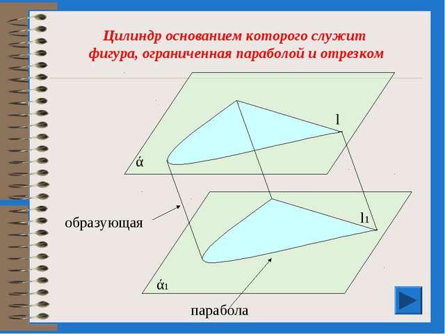 Цилиндр основанием которого служит фигура, ограниченная параболой и отрезком...